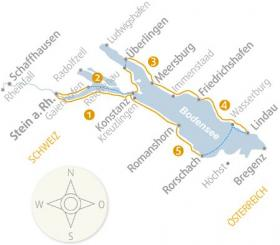 Map Cycle tour on Lake Constance